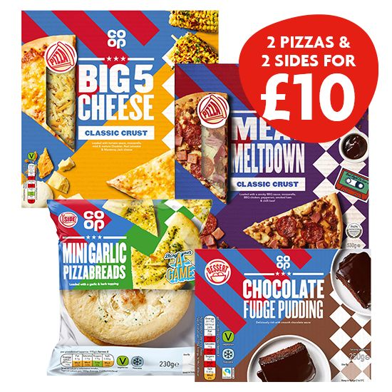 2 Pizzas and 2 Sides for £10