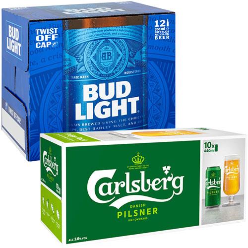 Bud Light and Carlsberg Pilsner