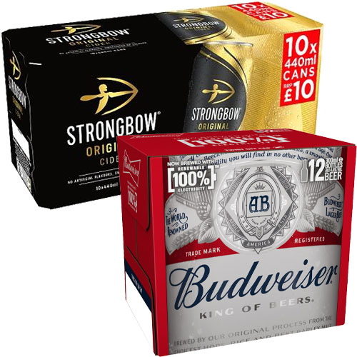 Budweiser and Strongbow