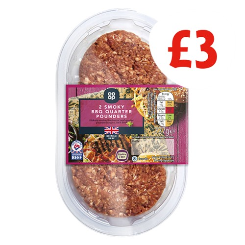 Co-op Hickory Smoked BBQ Beef Quarter Pounder Burgers