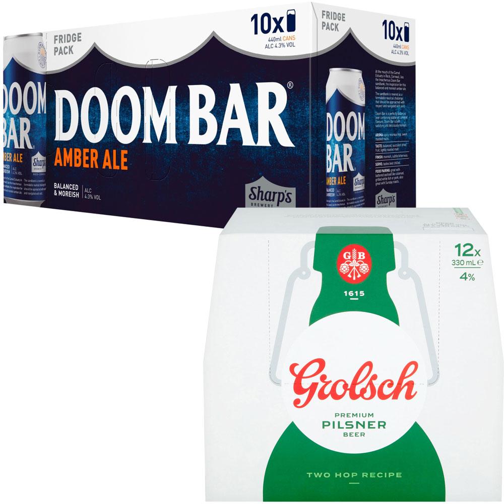 Doom Bar and Grolsch