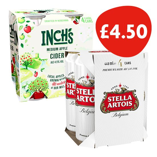 Inch's Apple Cider and Stella Artois
